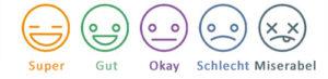 """Stimmungen in der App """"Daylio"""": Super, Gut, Okay, Schlecht und Miserabel, dargestellt mit Smilie-Gesichtern."""